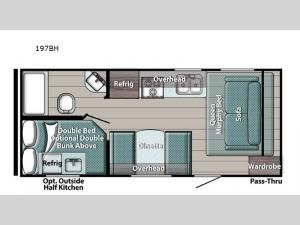 Trailmaster Super Lite 197BH Floorplan Image