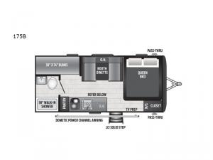 Hideout Single Axle 175BH Floorplan Image