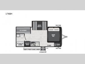Hideout Single Axle 176BH Floorplan Image