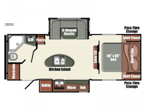 Gulf Breeze Champagne Series 25DSI Floorplan Image