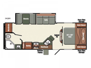 Gulf Breeze Champagne Series 26QBS Floorplan Image