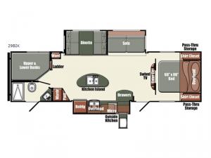 Gulf Breeze Champagne Series 29BIK Floorplan Image