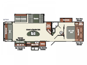 Gulf Breeze Champagne Edition 30TSW Floorplan Image