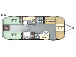 Flying Cloud 25 Twin Floorplan Image