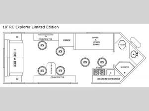 Glacier Ice House 18' RC Explorer Limited Edition Floorplan Image