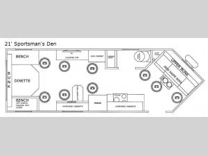 Glacier Ice House 21' Sportsman's Den Floorplan Image