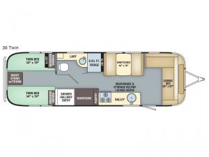 Flying Cloud 30 Twin Floorplan Image
