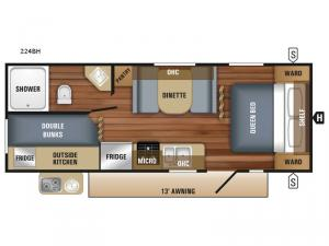 Jay Flight SLX 224BH Floorplan Image