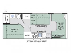Four Winds 22E Chevy Floorplan Image