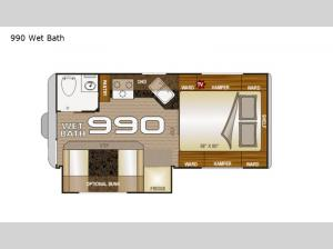 Arctic Fox Camper 990 Wet Bath Floorplan Image