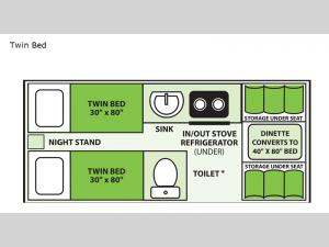 Expedition Twin Bed Floorplan Image