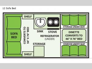 Ranger 12 Sofa Bed Floorplan Image