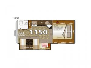 Arctic Fox Camper 1150 Wet Bath Floorplan Image