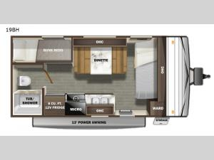 Autumn Ridge Single Axle 19BH Floorplan Image
