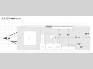 ATC Toy Hauler 8.5X25 Bedroom Floorplan Image
