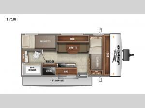 Jay Feather Micro 171BH Floorplan Image