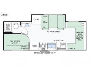 Four Winds Sprinter 24WS Floorplan Image