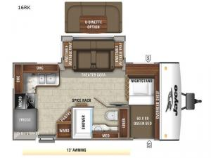Jay Feather 16RK Floorplan Image