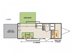 Quicksilver 7x18FK Floorplan Image