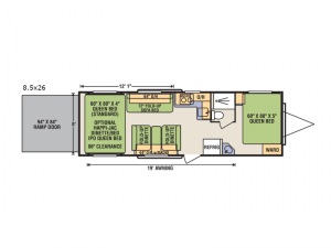 Quicksilver 8.5x26FBR Floorplan Image