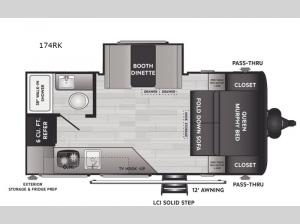 Hideout Single Axle 174RK Floorplan Image