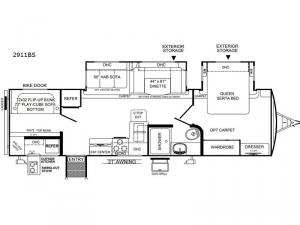 Rockwood Ultra Lite 2911BS Floorplan Image