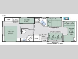 Four Winds 31E Bunkhouse Floorplan Image