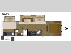 North Trail 32BUDS King Floorplan Image