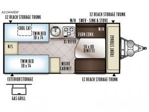 Rockwood Extreme Sports Hard Side A213HWESP Floorplan Image