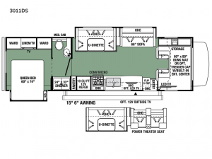 Forester Classic 3011DS Ford Floorplan Image