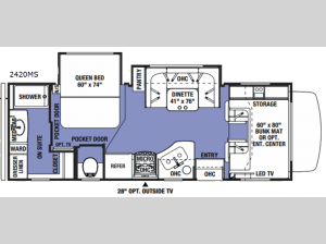 Sunseeker 2420MS Ford Floorplan Image