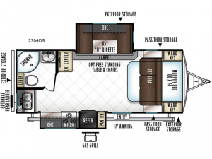 Rockwood Ultra Lite 2304DS Floorplan Image