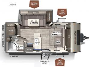 Rockwood Mini Lite 2104S Floorplan Image