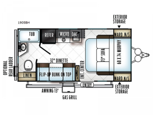 Rockwood Mini Lite 1905BH Floorplan Image