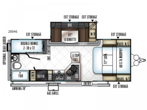 Rockwood Mini Lite 2504S Floorplan Image