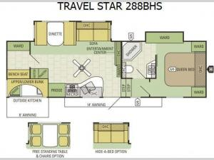 Travel Star 288BHS Floorplan Image