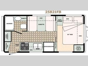Bigfoot 2500 Series Travel Trailer 25B21FB Floorplan Image