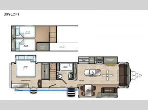 Sandpiper Destination Trailers 399LOFT Floorplan Image