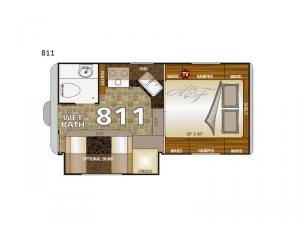 Arctic Fox Camper 811 Wet Bath Floorplan Image