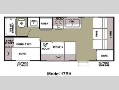 Floorplan - 2011 Forest River RV Cherokee Grey Wolf 17BH