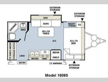 Floorplan - 2011 Forest River RV Rockwood Mini Lite 1809S