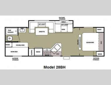 Floorplan - 2012 Forest River RV Cherokee Grey Wolf 28BH
