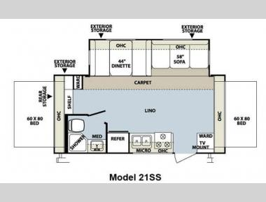Floorplan - 2012 Forest River RV Rockwood Roo 21SS