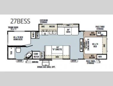 Floorplan - 2013 Forest River RV Flagstaff Super Lite 27BESS