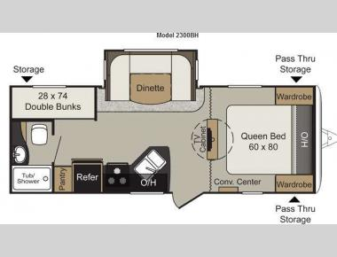 Floorplan - 2013 Keystone RV Passport 2300BH Grand Touring