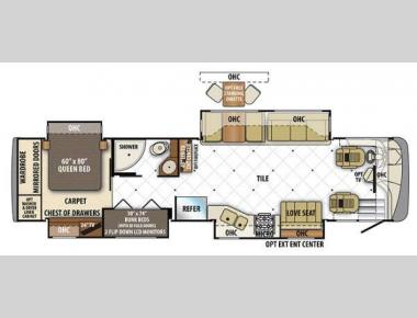 Floorplan - 2014 Forest River RV Berkshire 390BH