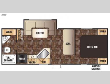 Floorplan - 2015 Forest River RV Cherokee Grey Wolf 23BD