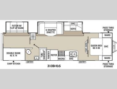 Floorplan - 2015 Coachmen RV Freedom Express Liberty Edition 310BHDS