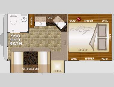 Floorplan - 2015 Northwood Arctic Fox Camper 990 Wet Bath
