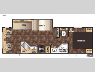 Floorplan - 2016 Forest River RV Cherokee Grey Wolf 26RL